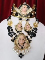 6921 Baroque Massive Vivid Hand Painted Angel Cherub Putti Genuine Agates Massive Necklace+ Earrings