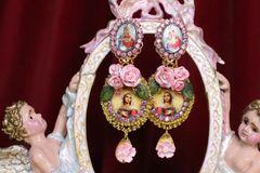 6922 Virgin Mary Pink Flowers Stunning Studs Earrings
