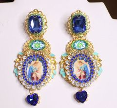 6923 Virgin Mary Blue Rhinestone Stunning Studs Earrings