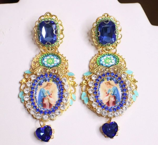 6923 Virgin Mary Blue Rhinestone Stunning Studs Earrings