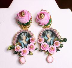6924 Marie Antoinette Pink Roses Cameo Flower Elegant Earrings