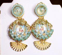 6925 Marie Antoinette Fan Aqua Elegant Earrings