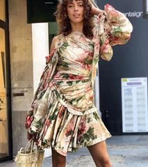 6927 Runway 2020 High-End Floral Victorian Sleeve Layered Mini Dress