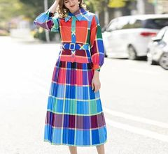 6928 Runway 2020 Check Rainbow Pleated Belted Midi Dress