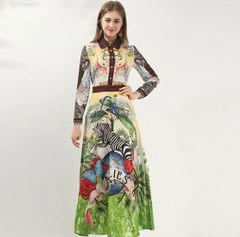 6929 Runway 2020 Tropical Animal Print Mid Cuff Dress