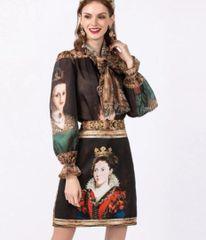 6931 Runway 2020 Victorian Portraits Print Chiffon Blouse +Skirt Twinset