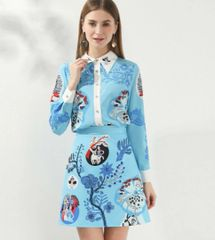 6933 Runway 2020 Cartoon Print Shirt+Skirt Twinset