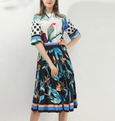 6936 Runway 2020 Tropical Parrots Print Shirt+ Pleated Skirt Twinset