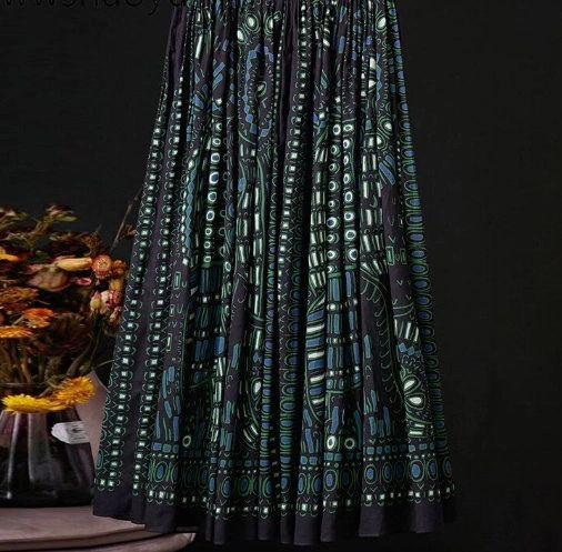 6937 Runway 2020 100 % Cotton Geometry Print Midi Skirt