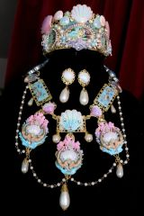 6942 Set Hand Painted Baroque Mermaids Coral Reef Genuine Chalcedony Agates Massive Necklace+ Earrings