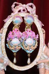 6943 Baroque Hand Painted Blue Coral Reef Mermaids Stunning Studs Earrings