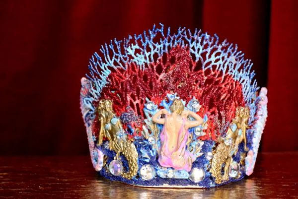 SOLD! 6945 Baroque Hand Painted Nautical Marine Mermaids Coral Reef Stunning Crown