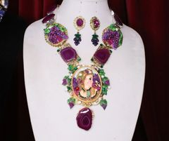 SOLD! 6950 Set Hand Painted Art Nouveau Lady Grapes Massive Necklace+ Earrings