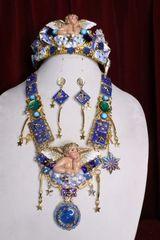 SOLD! 6951 Set Hand Painted Baroque Raphael Cherub Stars Moon Massive Necklace+ Earrings