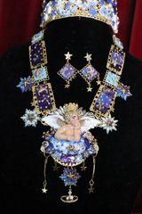6953 Set Hand Painted Baroque Raphael Cherub Stars Moon Massive Necklace+ Earrings