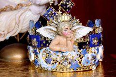 6954 Baroque Hand Painted Raphael Cherub Clouds Stunning Crown