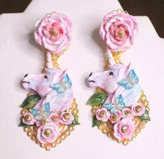 6956 Baroque Colorful Unicorns Roses Rainbow Massive Studs Earrings