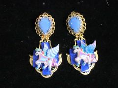 6957 Baroque Colorful Unicorns Iridescent Massive Studs Earrings