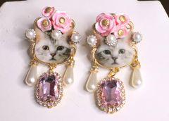 6958 Adorable Cat Roses Pink Rhinestone Studs Earrings