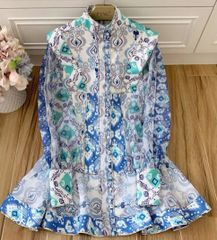 6962 Runway 2020 Designer Inspired Tile Boho White/Blue Mini Dress