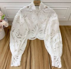 6965 High-End Linen Runway 2020 Victorian Sleeve Anglaise Crop Blouse