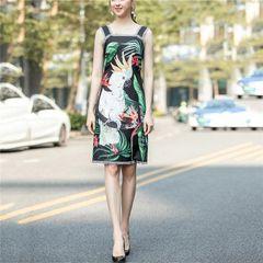 6966 Runway 2020 Tropical Parrot Print Black Mini Dress