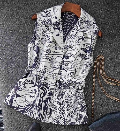 6968 Runway 2020 Jungle Lion Print Fancy Vest