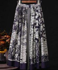6969 High-End Runway 2020 Sheer Jungle Cotton Midi Skirt