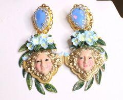 6970 Medusa Flowers Hand Painted Studs Earrings