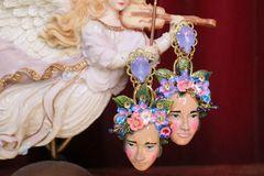 6971 Hand Painted Folk Face Flowers Studs Earrings