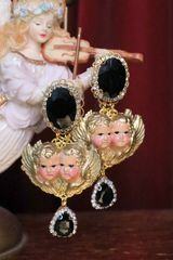 6972 Baroque Hand Painted Vivid Double Cherubs Angels Studs Earrings