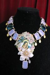 SOLD! 6973 Genuine Milky Opal Virgin Mary Icon Cameo Flower Massive Necklace