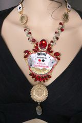 6974 Set Of What Happens In Vegas Massive Necklace+ Earrings