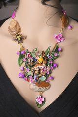 SOLD! 6974 Set Of Enamel Leopard Genuine Jasper Turquoise Gemstones Flowers Necklace+ Earrings