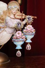 6975 Hand Painted Baroque Vase Roses Studs Earrings
