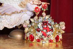 6978 Baroque Hand Painted Sacred Heart Cherubs Angels Crown