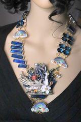6979 Art Jewelry 3D Effect Hand Painted Unicorn Genuine Quartz Topaz Rainbow Statement Necklace