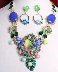 SOLD! 6980 Set Of Genuine Rainbow Solar Sulemani Agates Crystal Birds Quartz Statement Necklace