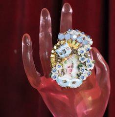 SOLD! 6981 Marie Antoinette Hand Painted Blue Rhinestones Cocktail Adjustable Ring