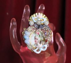 6982 Marie Antoinette Hand Painted Blue Rhinestones Bird Cocktail Adjustable Ring