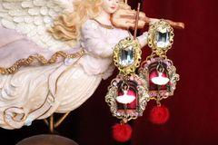 6983 Baroque Enamel 3D Effect Ballerina Crystal Studs Earrings