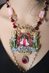 6984 Art Jewelry 3D Effect Hand Painted Baroque Ballerinas Theater Crystal Necklace Pendant