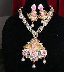 6985 Baroque Raphael Cherub Angel Hand Painted Massive Pendant Necklace