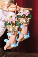 6986 Baroque Enamel 3D Effect Holding Roses Cherub Angel Studs Earrings