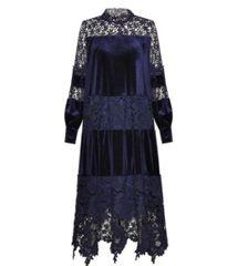 6988 Runway 2020 20s Vibe Blue Velvet Lace Straight Cut Dress