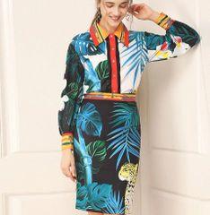 6991 Runway 2020 Tropical Leopard Print Shirt+ Pencil Skirt Twinset
