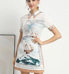 6992 Runway 2020 Nautical Ship Print Shirt+ Skirt Twinset