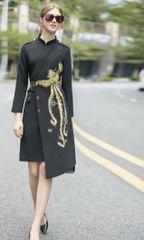 6993 Runway 2020 Baroque Asian Bird Embroidery Elegant Black Dress