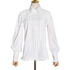6995 Runway 2020 White Crochet Detail Long Shirt Blouse