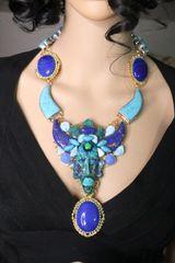 SOLD! 6999 Set Of African Mask Genuine Turquoise Jasper Botswana Agate Massive Necklace